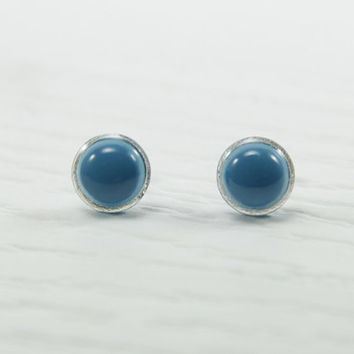 Turquoise Blue Small Stud Earrings 10mm - Modern Minimalist Small Round Studs - Tiny Pretty Ear Studs - Hypoallergenic Stainless Steel Post