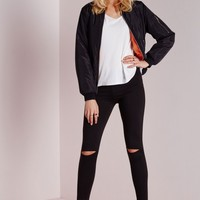 Missguided - Alissia Ripped Knee Leggings Black
