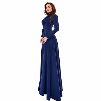 Women Slim Chiffon Long Sleeve Dresses Fit Dress Party Long Maxi Gown Lady Dresses Cute Sasha
