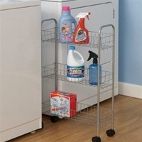 Slim 3-Tier Storage Cart - College Dorm Organizer and Laundry Accessory