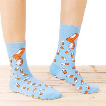Colorful Pill Medicine Themed Long Cotton Socks in Light Blue | DOTOLY