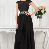 Sheer Lace Cap Sleeves Beaded Ruffled Cutout Back Evening Dress