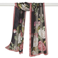 Cabbage Rose Satin Stripe Scarf, Black