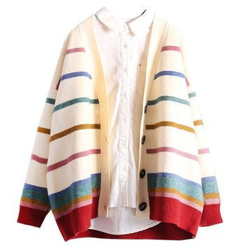 H.SA Women Cardigans and Sweater 2018 Girls Colorful Rainbow Striped Knitted Cardigans Oversized Spring Autumn Knit Jacket Coat
