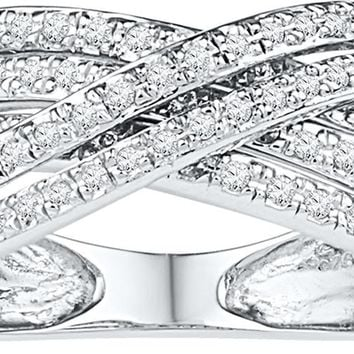 10kt White Gold Womens Round Diamond Crossover Five Row Band Ring 5/8 Cttw