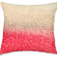 Decorative Smooth Woven Linen Couch Throw Pillow from DiaNoche Designs by Monika Strigel Unique Bedroom, Living Room and Bathroom Ideas - Gatsby Coral Gold