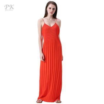 PK red summer maxi dress 2018 coral collar beach party sexy club sundress boho summer dress tiny pleats female women maxi dress
