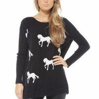 Black Knit Jumper with Contrast Horse Print