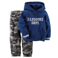 Carter's ''Handsome Dept.'' Fleece Hoodie & Camo Pants Set - Toddler Boy, Size: