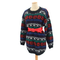 Vintage 1980s Ski Sweater Oversized Mohair Pullover Medium Large