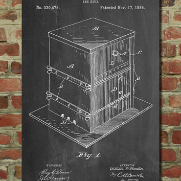 Bee Hive Exterior Patent Poster, Bee Keeper, Honey Bee, Honeycomb, Organic Honey, Farmhouse, PP724
