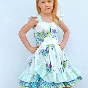 Girls Fancy Dress, Peacock Dress, Party Dress, Girls Ruffle Peek A Boo Dress, Flutter Sleeve Dress, Twirl Dress, Custom Boutique Dress