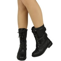 Women's Mid Calf Casual Comfort Rounded Toe Combat Boots US Sizes 5.5-10 Black
