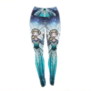 "Mandie Manzano ""The Snow Queen"" Frozen Yoga Leggings"