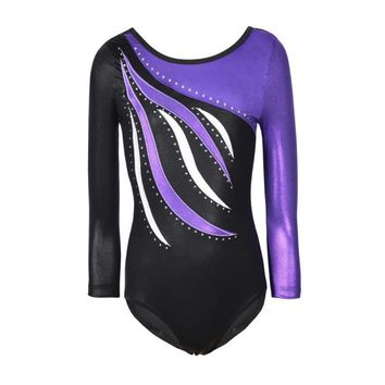 Kids Dance Wear Girls Long Sleeves Ballet Dress  Gymnastics Leotards Acrobatics