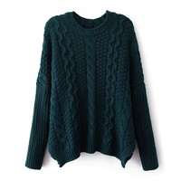 ZLYC Women Girls Classic Cable Knit Batwing Sleeves Pullover Sweater Jumper