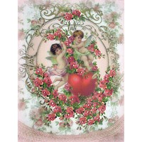 Crystal Roses Cherubs and Heart Wall Hanging