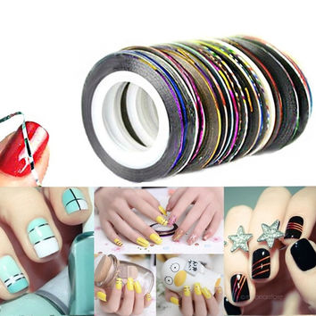 Rolls Striping Tape Line Painting Line Nail Sticker Nail DIY Kit Gel Tips Nail Art Accessories 10 Colors Set = 5987848897
