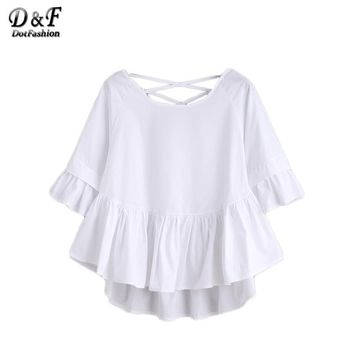 White Crisscross Back Ruffle Top Autumn Ladies Half Sleeve Round Neck Cute Shirt High Low Blouse
