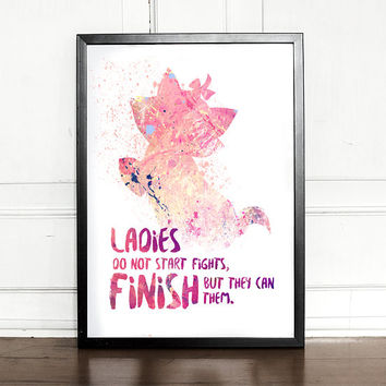 Aristocats Print, Marie, Ladies do not start fights, Aristocats Quote, watercolor, giclee art print, Disney inspired