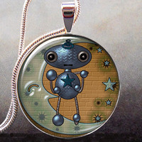 Moon Robot art pendant charm Robot necklace by thependantemporium
