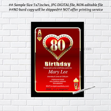 Poker Playing Card Gold birthday invitation, Casino gold glitter design, any age 30th 40th 50th 60th 70th 80th 90th - card 245