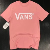 VANS 2018 Men and Women Tide Brand Fashion High Quality Couple T-shirt F-XMCP-YC pink
