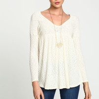 Ivory Ribbed Knit Scoopback Top