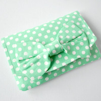 Purse wallet pouch Polka dot spot in mint green and white with bow.