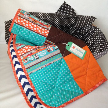 Chevron baby quilt~ baby boy quilt~ car~ ambulance~ fire engine~ police~ zig zag quilt~ teal and orange~ spots~ cars~ first responder quilt