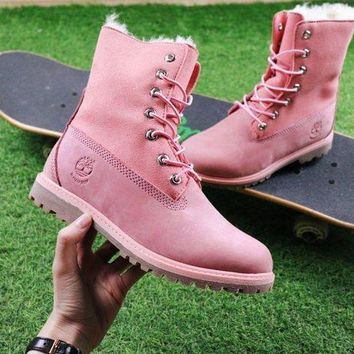 PEAPUX5 Timberland Authentics Waterproof Fold Down Shearling Pink Mid Boots Outdoor Sneaker