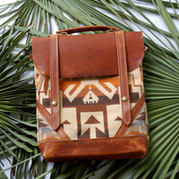 Coastal Bag- Horween leather and Pendleton wool bag