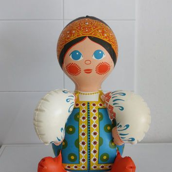 Old vintage inflatable doll from Tchécoslovaquie, Russian and Slavic Culture, Russian vintage toy, 1980