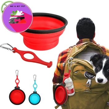 Collapsible Food Grade Silicone Dog Bowl Portable Pet Travel Bowl with Carabiner and Water Bottle Water Food Bowl for Dogs Cats