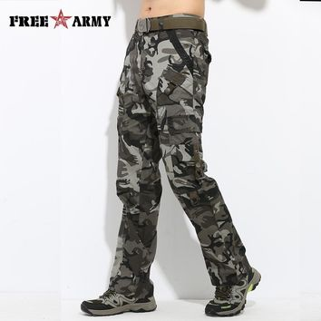 Large Size Straight Men's Cargo Pants Camouflage Cotton Full Length Pockets Men Pants Casual Camo Workwear Pants Plus MK-728C
