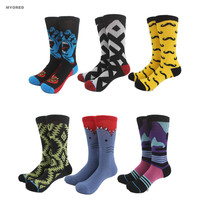 MYORED Mens unisex brand neutral towel bottom Socks colorful Male Warm Funny cat Long Sock Dog Moustache crazy sox