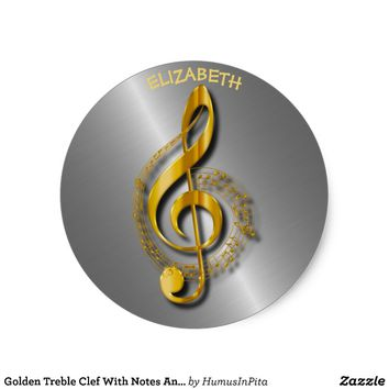 Golden Treble Clef With Notes And Shadows Classic Round Sticker