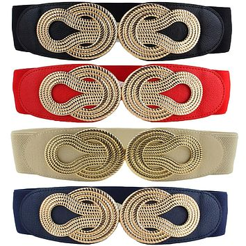 Women Vintage Chinese Knot Buckle Stretchy Belt Faux Leather Elastic Waist Band