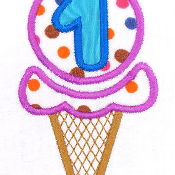 Ice cream cone birthday numbers set embroidery design. Summer birthday numbers set applique design for machine embroidery. 4x4 hoop and more