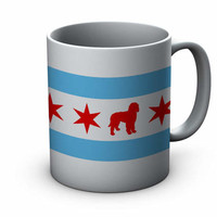 Chicago Flag Doodle Ceramic Mug - Chicago Coffee Mug - Labradoodle Mug - Goldendoodle Mug - Coffee Cup - Gift for dog Lovers