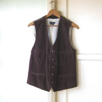 Dark Chocolate Brown Corduroy Vest with 4 Pockets & Buckle-Tie Back; Men's Small Brown Vest; Mod/Carnaby Street/Waistcoat/Dandy