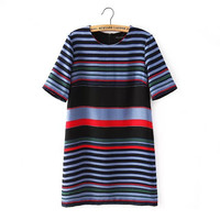 Summer Women's Fashion Stripes Short Sleeve Round-neck Dress One Piece Dress [4917841156]