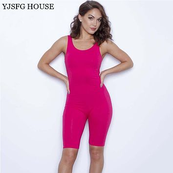 YJSFG HOUSE Summer Solid Sexy Jumpsuits O-Neck Sleeveless Dancing Rompers Women Bodysuits Midi Skinny Pants Bodysuits Playsuit