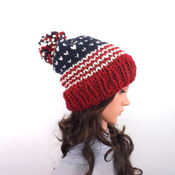 Chunky Knit USA Slouchy Hat, American Knit Hat, Patriotic Knit Hat, Pom Pom Hat, Gift Idea