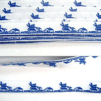 Dutch Delft Blue Ribbon - Farm Windmill - One yard