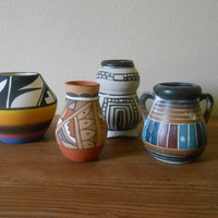 Indian Pottery Collection. American Indian Handcraft. Seminole and Ute Planter or Vase