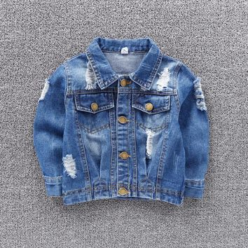 Denim Jackets Coats for Boys Long Sleeve broken Hole Coat 2018 Fashion Spring Autumn Children Outwear Coats Kids Cowboy Clothing