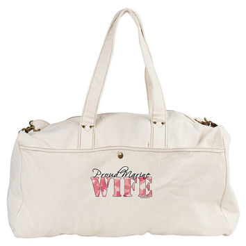 Marine Corps (USMC) Wife Duffle / Workout / Gym Bag with Pink Butterfly
