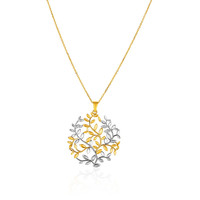 Borderless Modern Tree of Life Pendant in 14k White and Yellow Gold