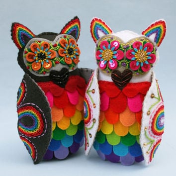 Rainbow Owl Wedding Cake Topper - Mexican Folk Art -  Embroidered Plush